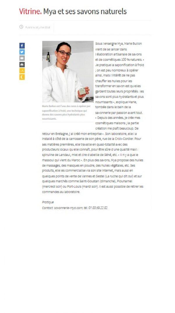 Article Le Télégramme cosmétiques et savons naturels et bio Mya