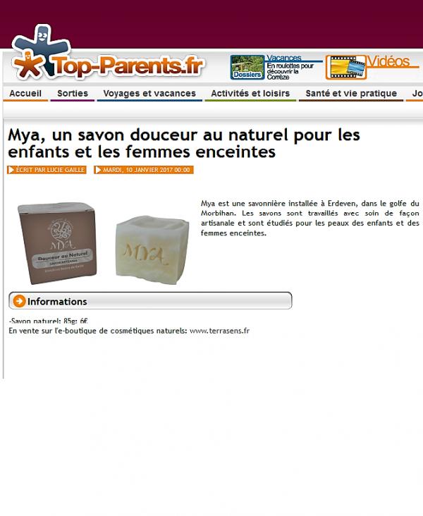 Article Top Parents cosmétiques et savons naturels et bio Mya